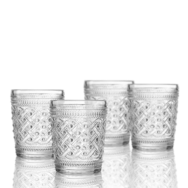 Elle Decor  229807-4OF  Bistro Ikat  4 Pc Set Old Fashion Glasses, Clear-Glass Elegant Barware and Drinkware, Dishwasher Safe 9.8 Oz Clear