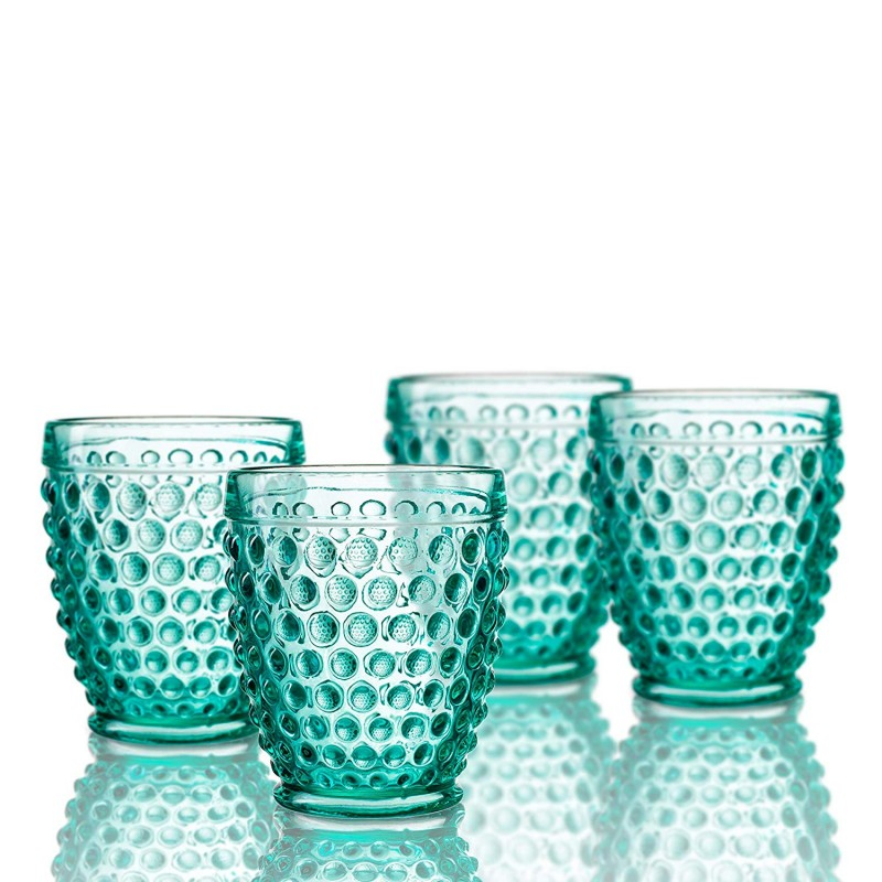 Elle Decor 229804-4OFGR Bistro Dot 4 Pc Set Old Fashion, Green-Glass Elegant Barware and Drinkware, Dishwasher Safe, 10 Oz