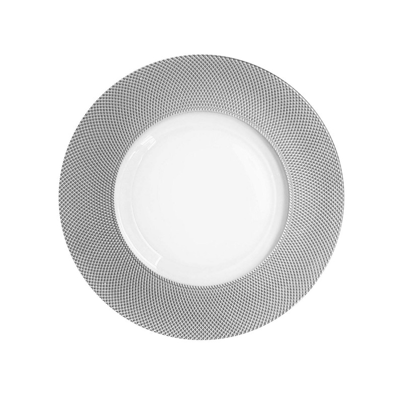 ChargeIt by Jay Cara Glass Charger Plate, Silver Rim