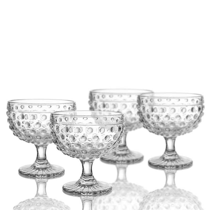 "Elle Decor Bistro Dot Pedestal Bowls, Clear, 4.3"" x 4.3"""