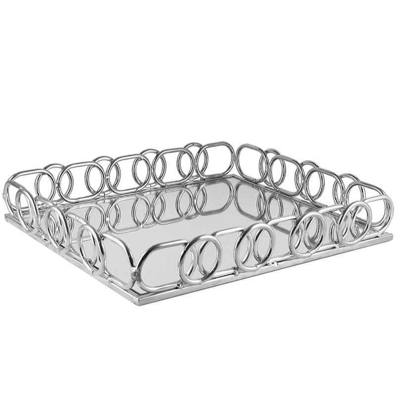 American Atelier Rectangle Mirror Decorative Tray with Metal Rim - Silver