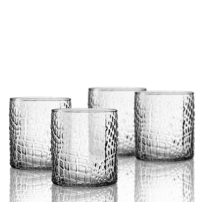 Elle Decor 229805-4OF Bistro Croc 4 Pc Set Old Fashion, Clear-Glass Elegant Barware and Drinkware, Dishwasher Safe, 12.8 Oz