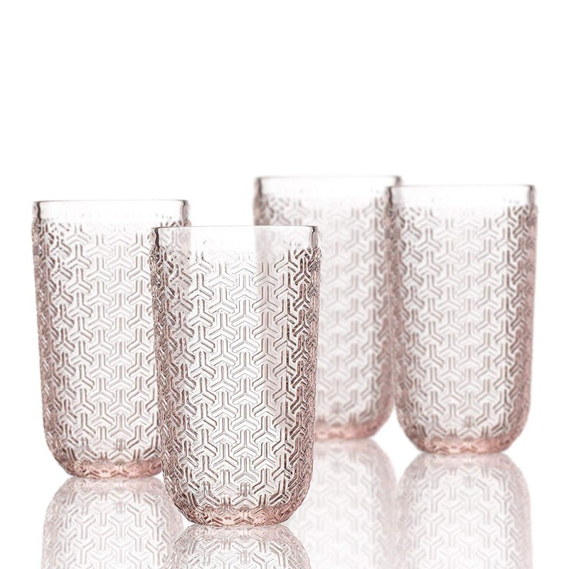 Elle Decor  229806-4HBPU Bistro Key  4 Pc Set Highball Glasses, Pink-Glass Elegant Barware and Drinkware, Dishwasher Safe 14 Oz Pink