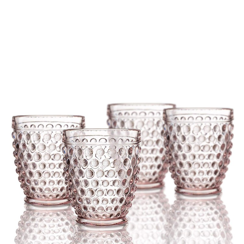 Elle Decor  229804-4OFPU  Bistro Dot  4 Pc Set Fashion Glasses, Pink-Glass Elegant Barware and Drinkware, Dishwasher Safe 10 Oz Pink
