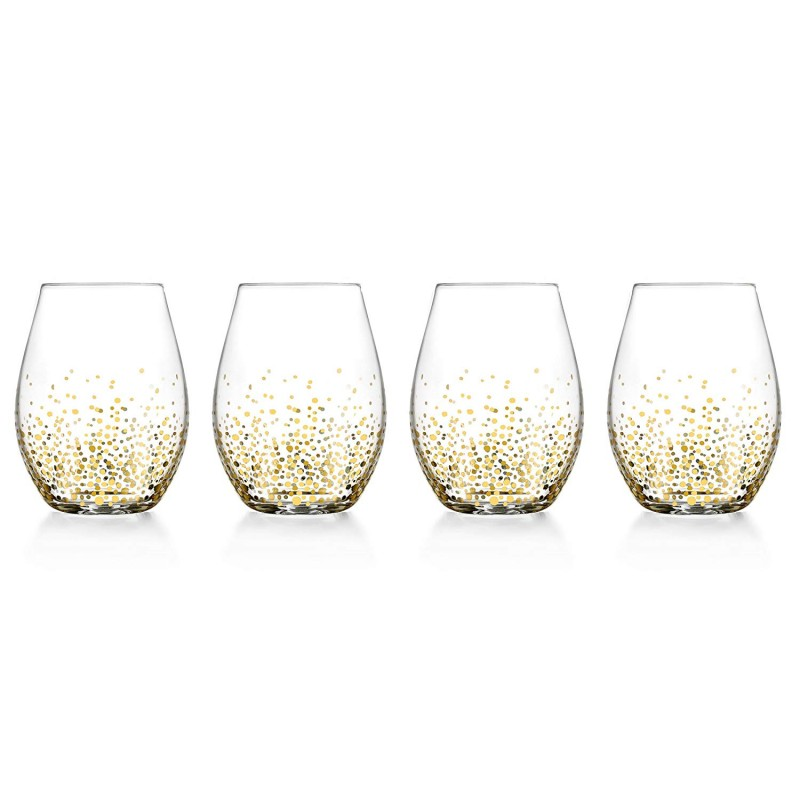 Fitz and Floyd 229700-4ST Luster Stemless Goblets, Gold