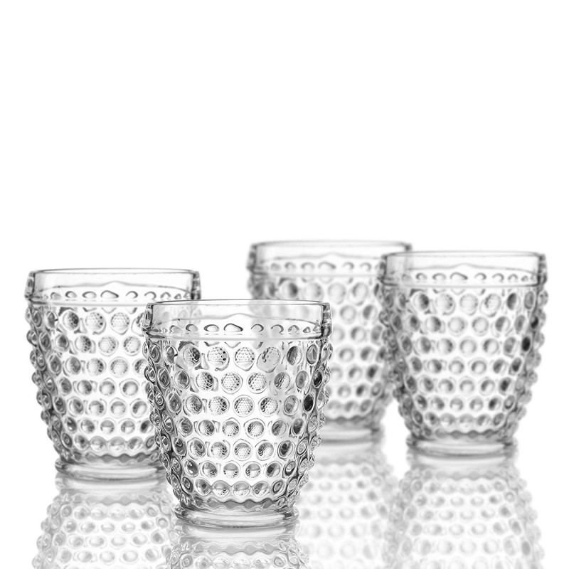 Elle Decor 229804-4OF Bistro Dot Old Fashion Glasses, 3.4 x 3.4 x 4, Clear