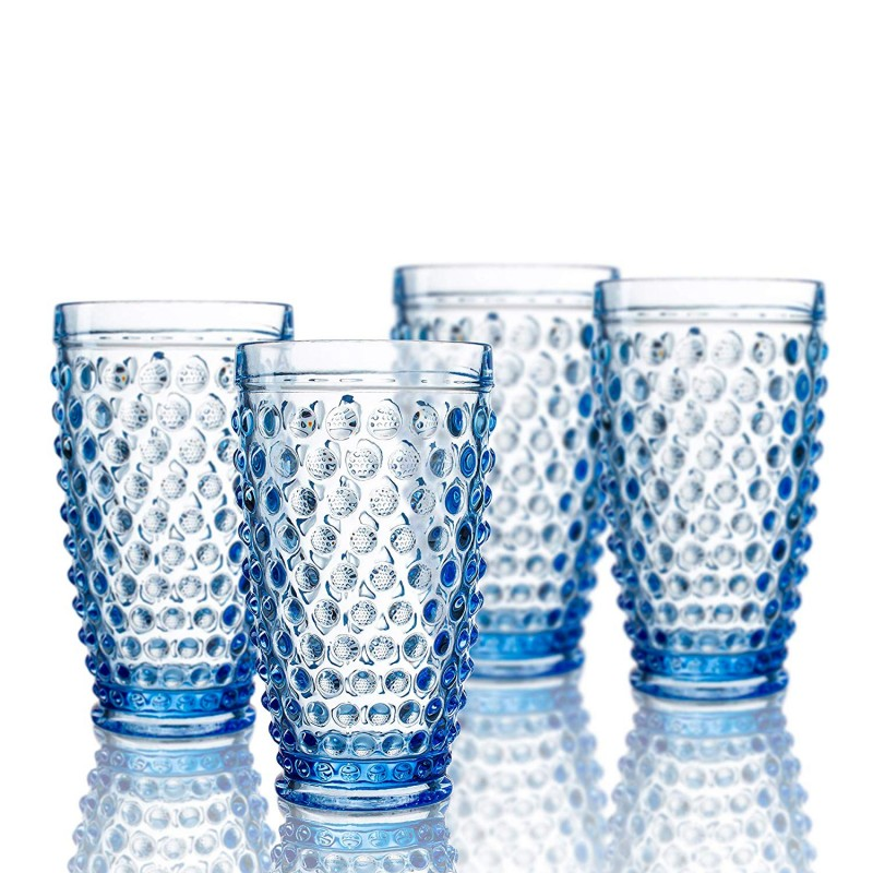Elle Decor 229804-4HBBL Bistro Dot 4 Pc Set Highball, Blue-Glass Elegant Barware and Drinkware, Dishwasher Safe, 13.5 Oz