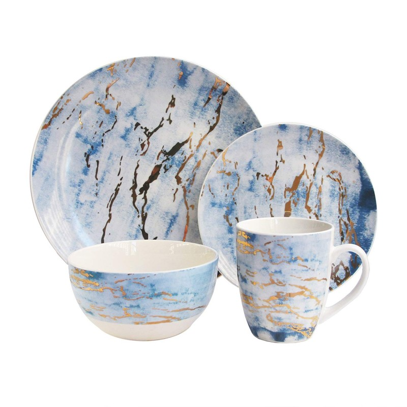 "American Atelier 7089-16-RB 16Piece Marble Dinnerware Set, 10.5"" x 10.5"", Blue/Gold"