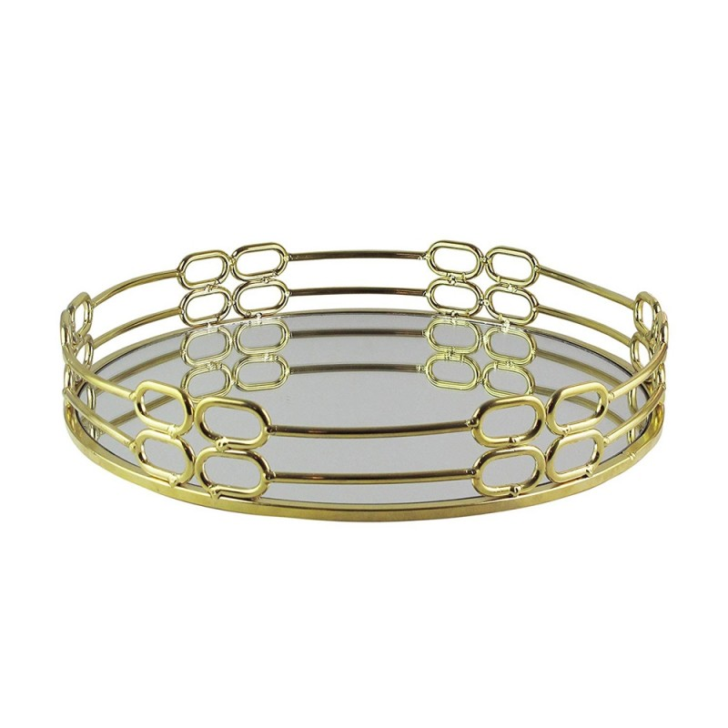 American Atelier 1330803 Round Mirror Decorative Tray with Metal Rim - Gold