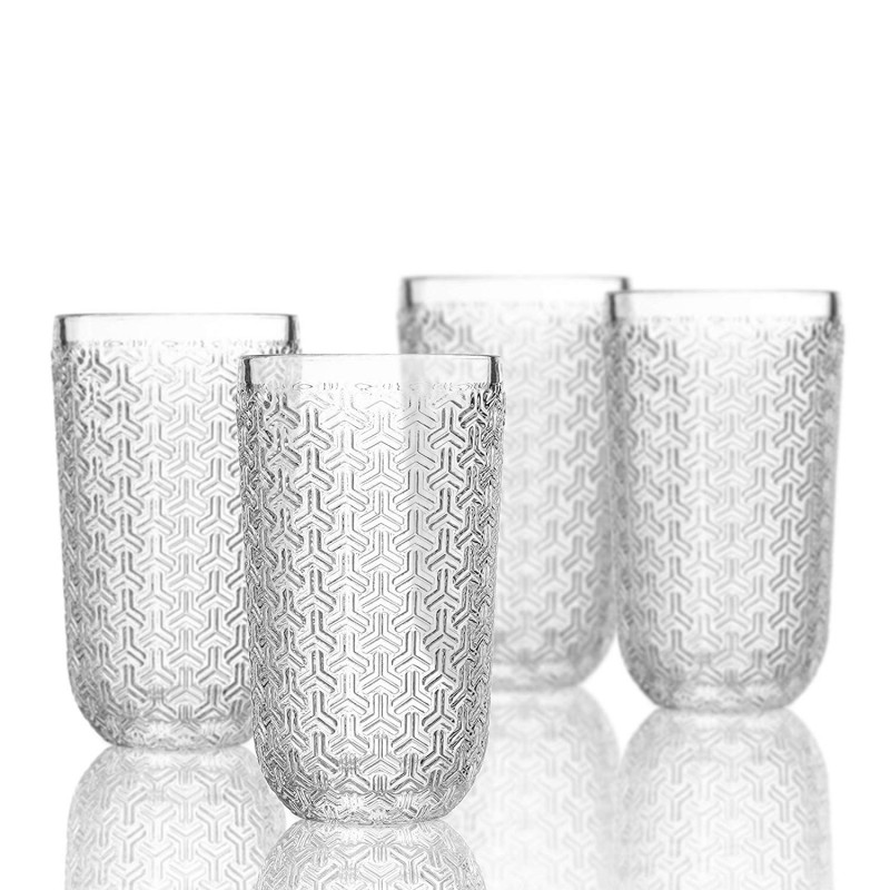 Elle Decor  229806-4HB Bistro Key  4 Pc Set Highball Glasses,Clear-Glass Elegant Barware and Drinkware, Dishwasher Safe 14 Oz Clear