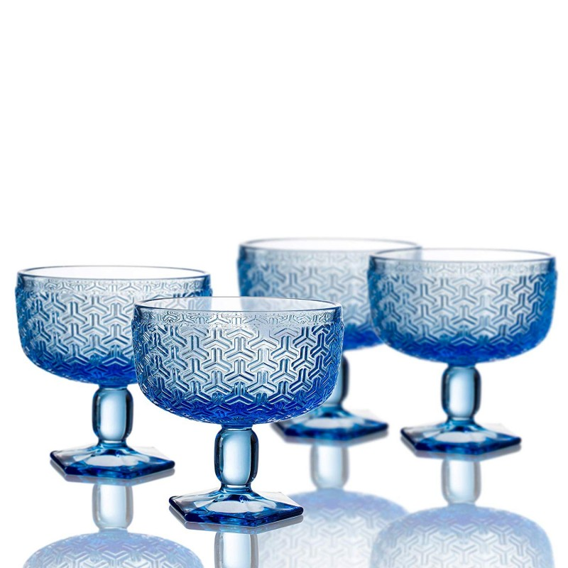 "Elle Decor 229806-4PBBL Bistro Key Pedestal Bowls (Set of 4), 4.3"" x 4.3"", Blue"