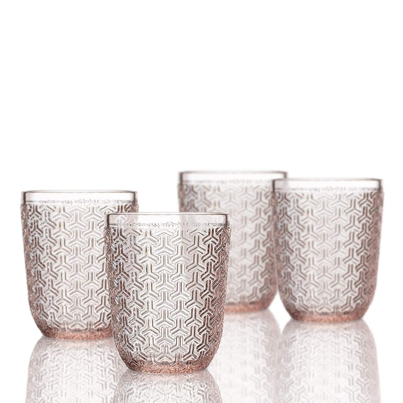 Elle Decor 229806-4OFPU Bistro Key 4 Pc Set Old Fashion, Pink-Glass Elegant Barware and Drinkware, Dishwasher Safe, 10.8 Oz