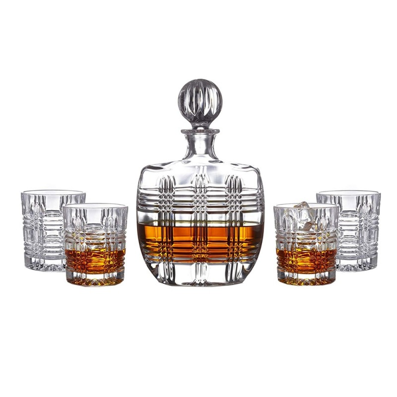 Fitz and Floyd Bridgeport Crystal 5 Piece Elegant Decorative Whiskey Decanter Set Ornate Top with 4 Old Fashion Glasses for Wine, Bourbon, Brandy, Liquor, Juice and Water – Makes For an Ideal Gift