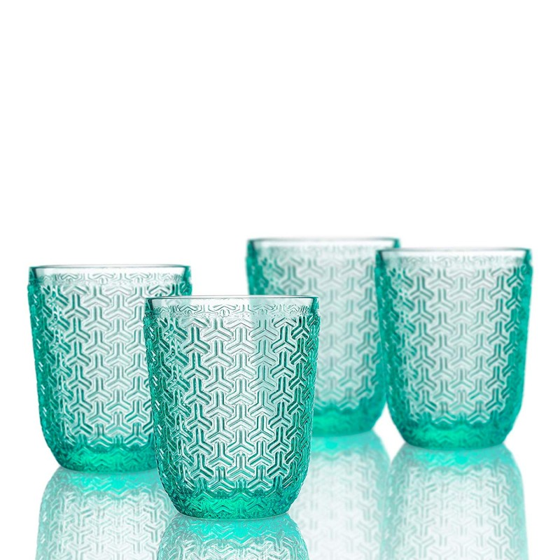 Elle Decor  229806-4OFGR  Bistro Key  4 Pc Set Old Fashion Glasses Green-Glass Elegant Barware and Drinkware, Dishwasher Safe 10.8 Oz Green