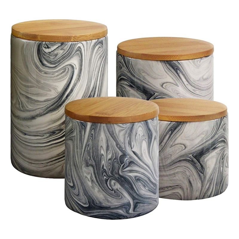 Elle Decor 1562504CANRB Marble 4 Piece Canister Set, Gray