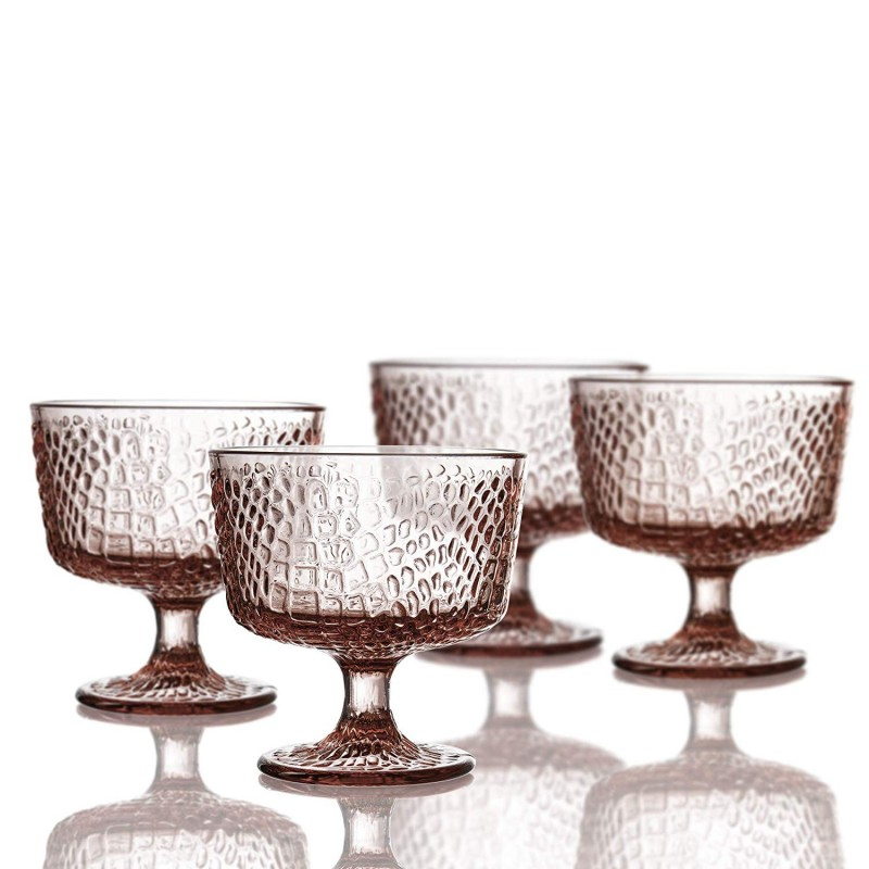 Elle Decor Bistro Croc Set of 4 Pedestal Bowls, Pink