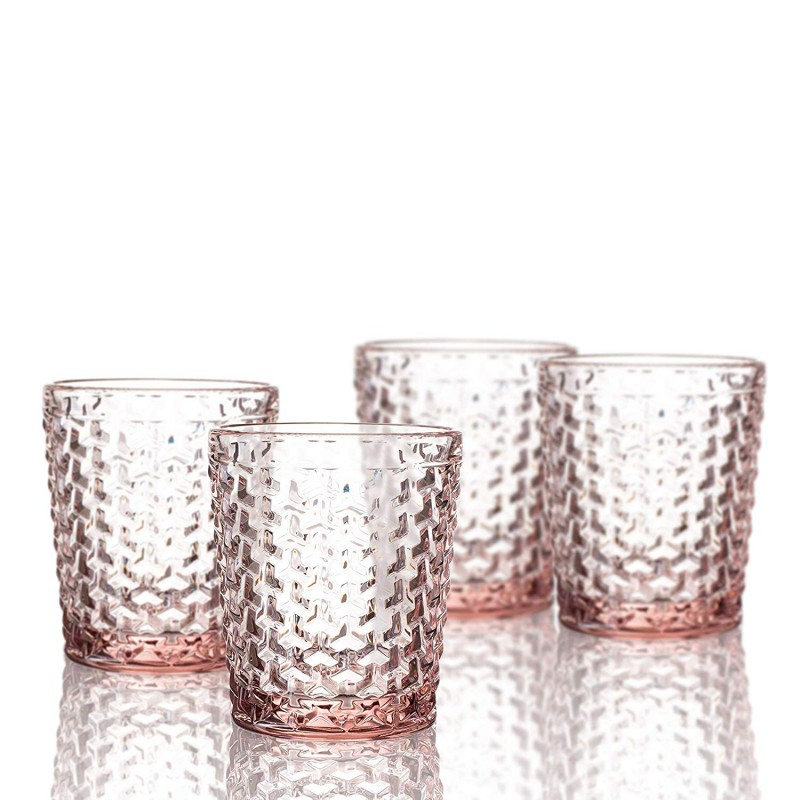 Elle Decor  229803-4OFPU Bistro Weave  4 Pc Set Old Fashion Glasses, Pink-Glass Elegant Barware and Drinkware, Dishwasher Safe 10.8 Oz Pink