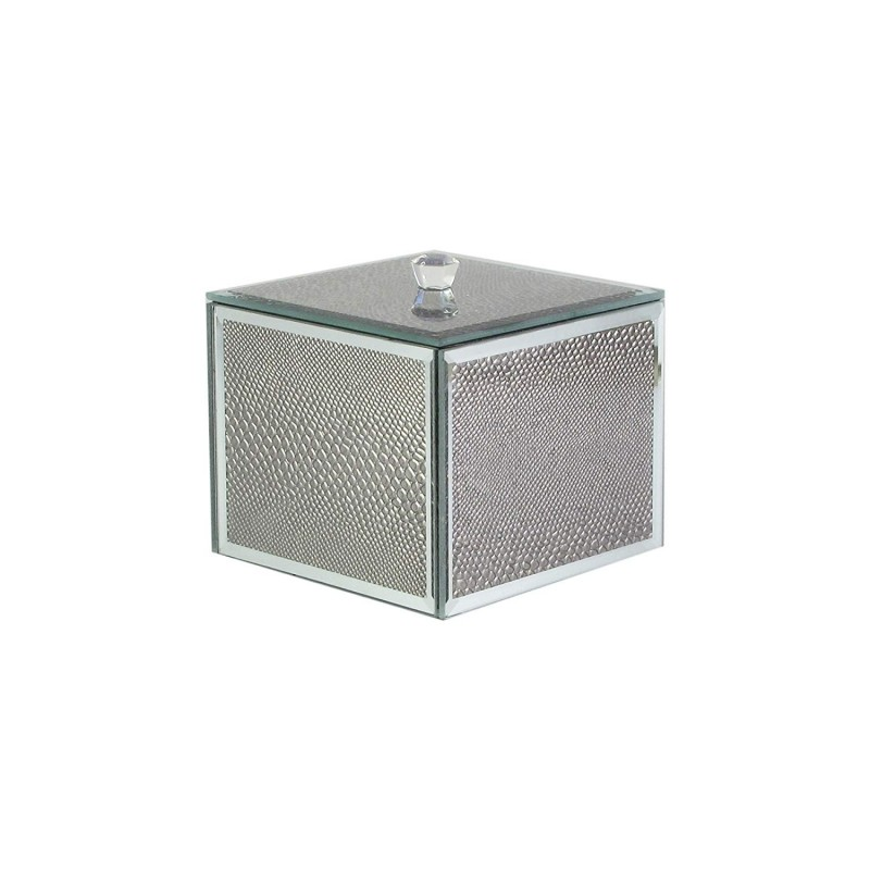 American Atelier Snake Skin Cotton Ball Box, Silver
