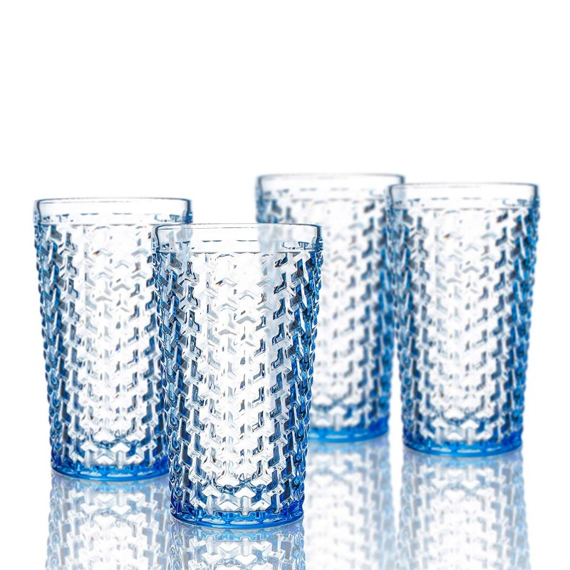 Elle Decor 229803-4HBBL Bistro Weave Set of 4 Highballs, Blue-Glass Elegant Barware and Drinkware, Dishwasher Safe, 13.5 Oz