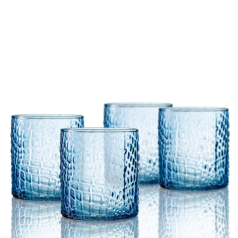 Elle Decor 229805-4OFBL Bistro Croc 4 Pc Set Old Fashion, Blue-Glass Elegant Barware and Drinkware, Dishwasher Safe, 12.8 Oz