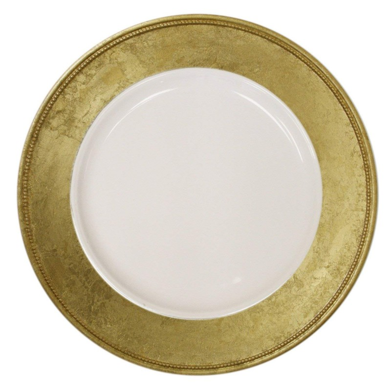 ChargeIt by Jay Leaf Round Set of 4 Charger Plates-Gold Rim