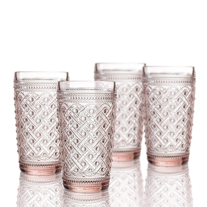 Elle Decor 229807-4HBPU Bistro Ikat 4 Pc Set Highball, Pink-Glass Elegant Barware and Drinkware, Dishwasher Safe, 13 Oz