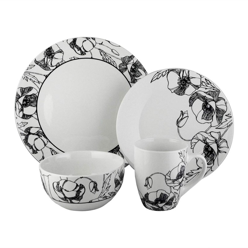 American Atelier Dinnerware Set – 16-Piece Stoneware Party Collection w/ 4 Dinner Salad Plates, 4 Bowls & 4 Mugs – Gift Idea for Any Occasion, Black, Floral