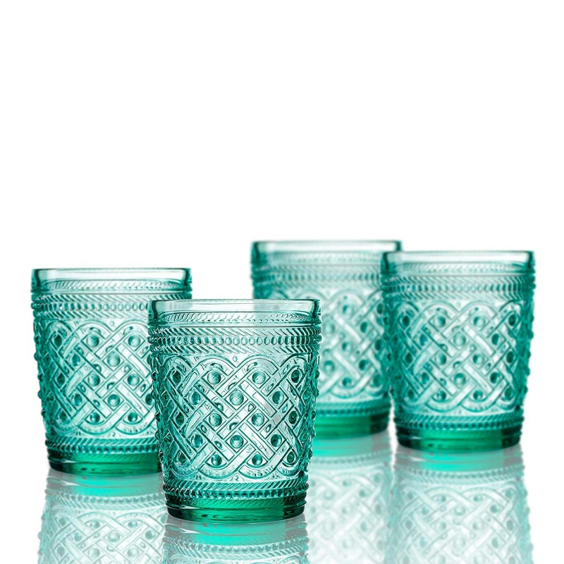 Elle Decor  229807-4OFGR  Bistro Ikat  4 Pc Set Old Fashion Glasses, Green-Glass Elegant Barware and Drinkware, Dishwasher Safe 9.8 Oz Green