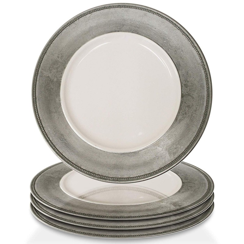 ChargeIt by Jay A466HRK-4 Leaf Rim Set of 4 Round Melamine Charger Plates 13x13 Silver