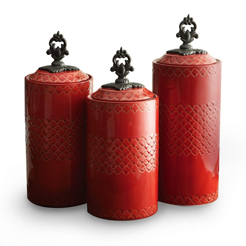 American Atelier Set of 3 ceramic Canisters-Red