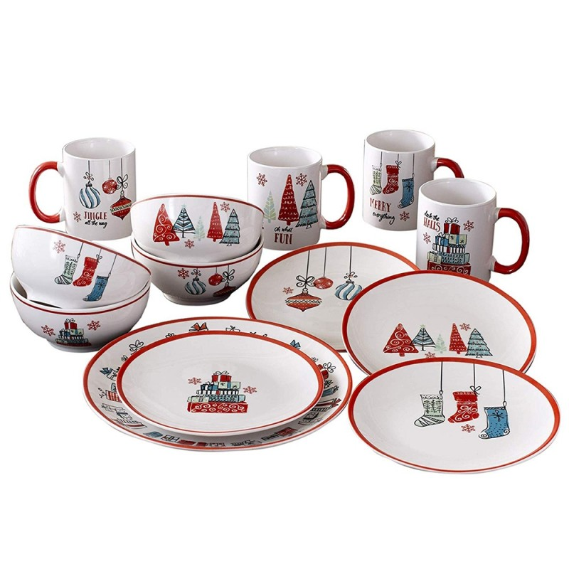 American Atelier 7163-16-RB Holiday Gift 16 Piece Round Dinnerware Set