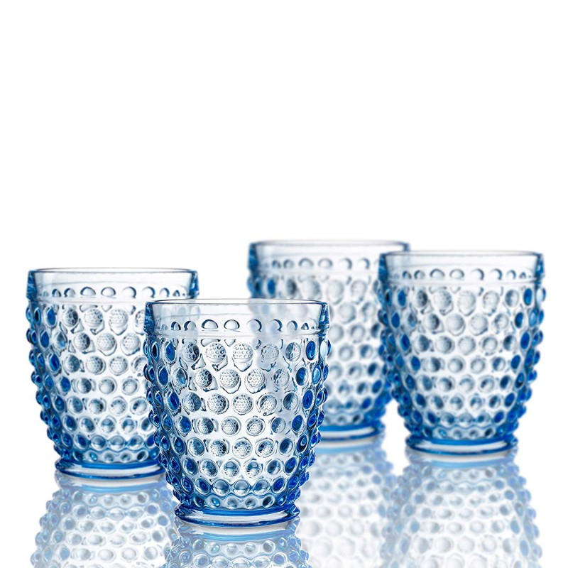 Elle Decor  229804-4OFBL  Bistro Dot  4 Pc Set Old Fashion Glasses, Blue-Glass Elegant Barware and Drinkware, Dishwasher Safe 10 Oz Blue