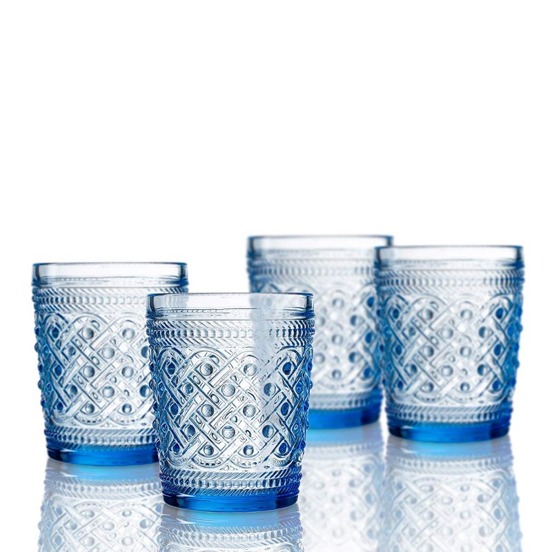 Elle Decor  229807-4OFBL Bistro Ikat  4 Pc Set Old Fashion Glasses 4 pc set. Blue-Glass Elegant Barware and Drinkware, Dishwasher Safe 9.8 Oz Blue