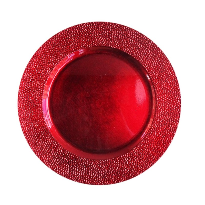 ChargeIt by Jay 1182762 Round Charger Plate, Red