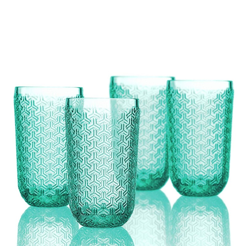 Elle Decor 229806-4HBGR Bistro Key 4 Pc Set Highball, Green-Glass Elegant Barware and Drinkware, Dishwasher Safe, 14 Oz