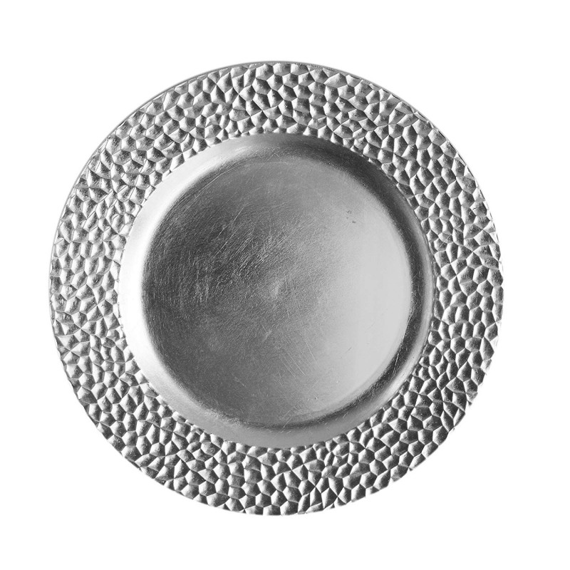 ChargeIt by Jay 1182764 Hammered Rim Charger Plate, Silver