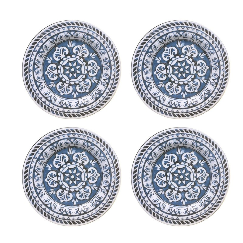 "American Atelier 1184266-4D Homestead Dinner Plate (Set of 4), 10"" x 10"", Blue"