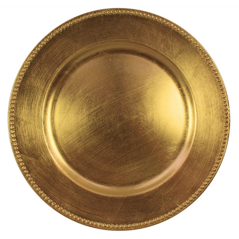 ChargeIt by Jay 1180005AP-F Beaded Round Charger Plate, Gold