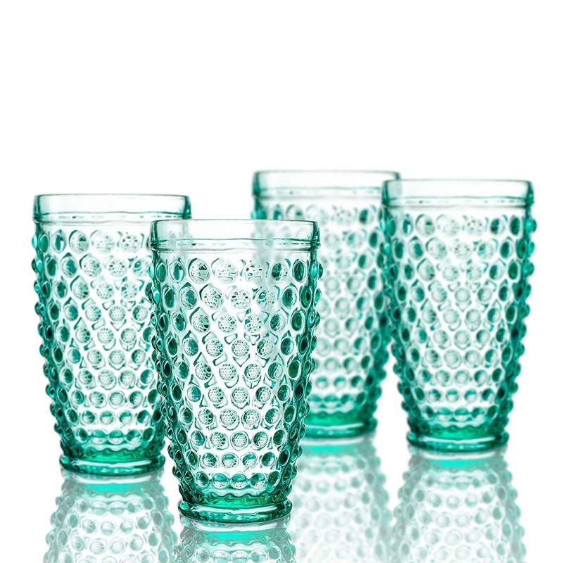 Elle Decor  229804-4HBGR Bistro Dot  4 Pc Set Highball Glasses, Green-Glass Elegant Barware and Drinkware, Dishwasher Safe 13.5 Oz Green