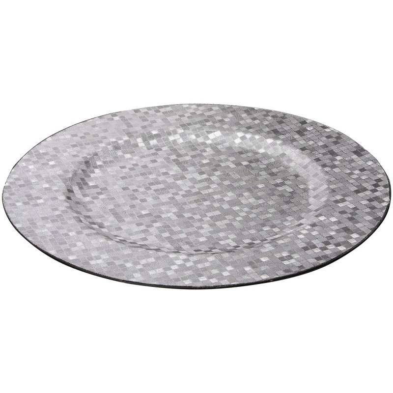 ChargeIt by Jay Silver Mosaic Round Charger Plate