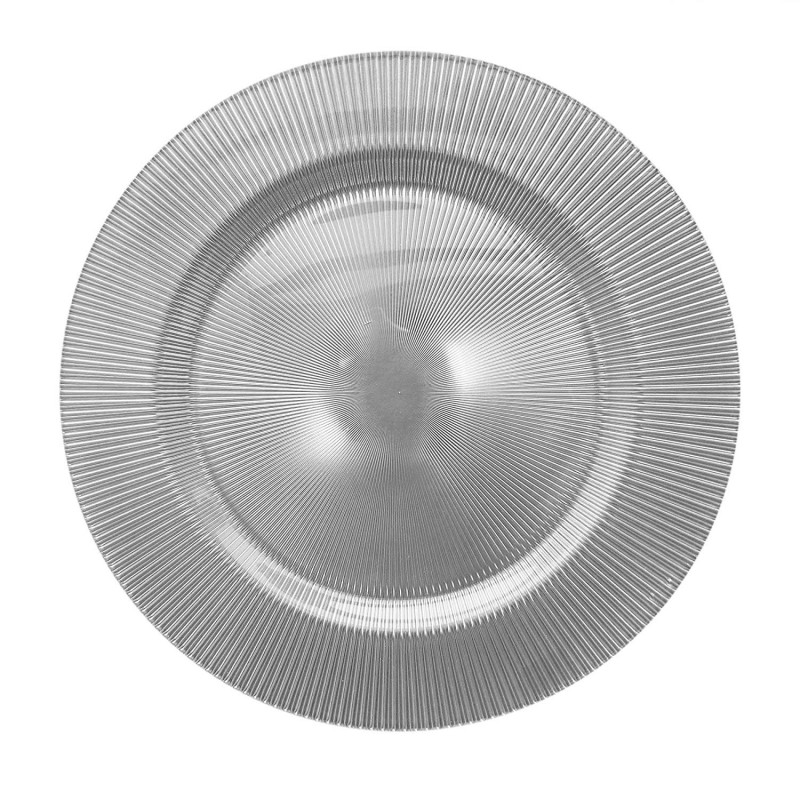 ChargeIt by Jay Sunray Glass Charger Plate, Silver
