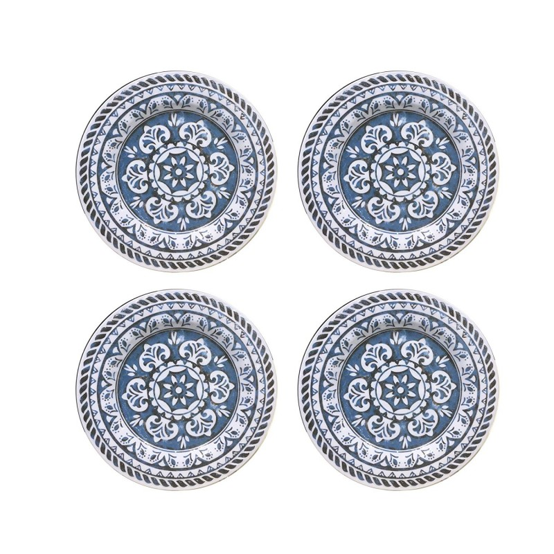 American Atelier 1184266-4S Homestead Salad Plate Set, 8 x 8, Blue