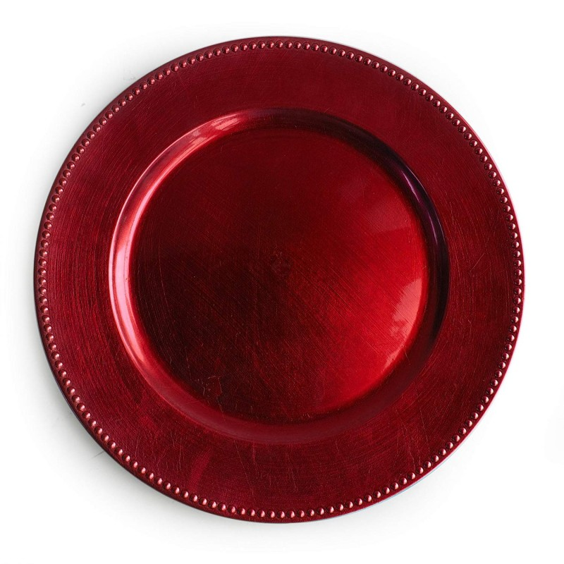 ChargeIt by Jay Beaded Round Charger Plate, Red