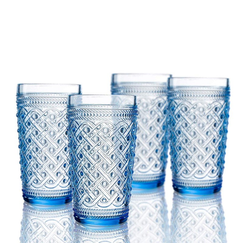 Elle Decor  229807-4HBBL  Bistro Ikat  4 Pc Set Highball Glasses, Blue-Glass Elegant Barware and Drinkware, Dishwasher Safe 13 Oz Blue