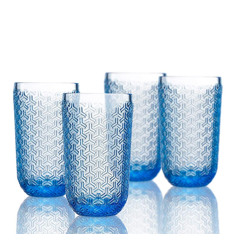 Elle Decor  229806-4HBBL  Bistro Key  4 Pc Set Highball Glasses, Blue-Glass Elegant Barware and Drinkware, Dishwasher Safe. 14 Oz Blue