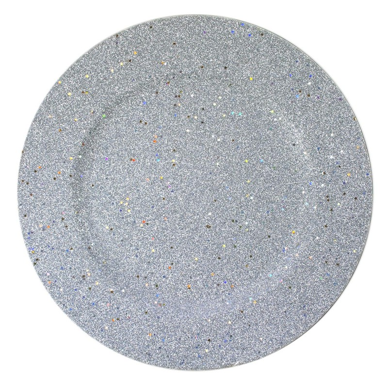 ChargeIt by Jay Glitter and Stars Silver Charger Plate