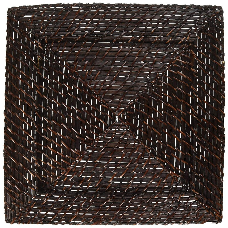 ChargeIt by Jay 1660147 Square Rattan Charger Plate, Dark Brown